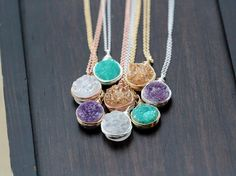 Druzy Bezel Pendant Necklace, Pastel Water Color Sterling Silver, Gold or Rose Gold, Titanium Agate Quartz Spring Trends