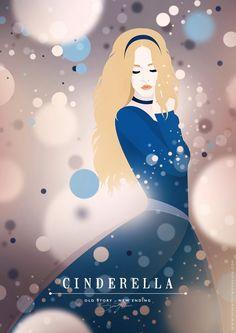 Old Story, New Ending - Seventy Two Illustration & Design ---- auras, illustrations, behance, disney princesses, art, poster, design, cinderella, disney characters