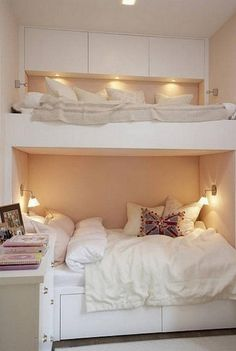 Bunk Beds | The Owner-Builder Network cozy room, bunk beds, kid rooms, bunk rooms, space saving, teen girl, small spaces, guest rooms, girl rooms