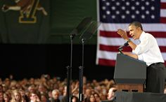 Obama delivered his speech at the University of Vermont, whose logo appears at the upper left of the frame.