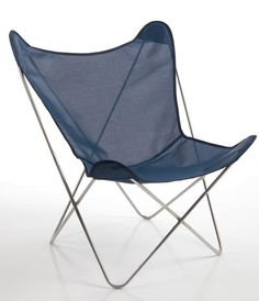 Circa50 Butterfly Chair / outdoor vinyl weave Navy w/ brushed aluminum frame | $405 for 2, including shipping