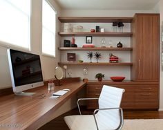 Combination of open and closed cabinets and home office work surface