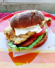 Pan fried trout sandwich with tartar sauce