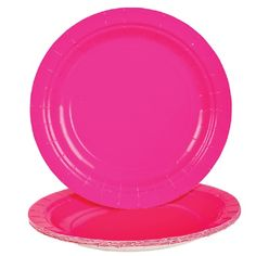 Hot Pink Paper Plates (Bulk Pack of 25 Plates) at theBIGzoo.com, an animal-themed superstore.