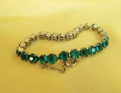 Vintage teal green rhinestone tennis bracelet Beautiful!