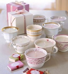 DIY teacup candles. Perfect for girls who love vintage, candles and teacups.