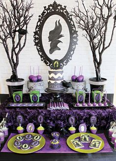 Maleficent silhouette dessert table.