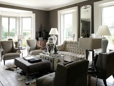 Grey on grey on grey on grey. Love it!  And stealing the antique trunk + ottoman idea. Interior, White Living, Living Rooms, Living Spaces, Ginger Jars, Dark Walls, Bay Windows, Living Room Designs, Live Room