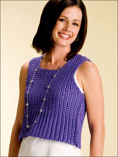 Short & Sexy Tank - This versatile, sporty tank is a basic fashion necessity for every summer wardrobe. Includes: Women's sizes small to X-large. Made with WW yarn and size K (6.5mm) hook. Skill Level: Intermediate  Designed by Marty Miller free pdf from FreePatterns.com