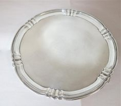 DECO. Sterling Silver Round Tray / Salver / Waiter. For Sale At www.EstateSilver.com