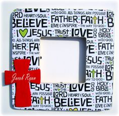 Personalized painted cross wooden picture frame...  I can do this!