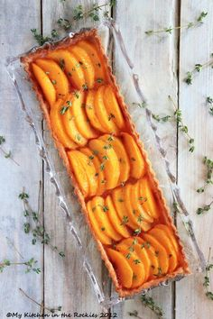 peach tart with thyme sugar
