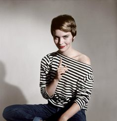 striped boat neck top, short hair