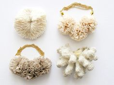 """jewelry pieces from Kathryn Blackmore's line, """"The Vamoose"""" - coral-inspired pom poms and vintage mesh creations"""