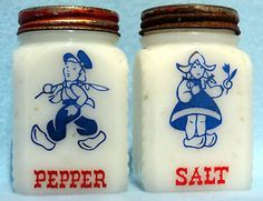 Vintage McKee Milk Glass Salt and Pepper Shakers Dutch Boy and Girl