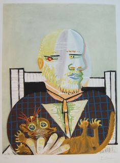 Vollard et son Chat - (Vollard and his Cat) |  Etching and aquatint in colours 1960 | Pablo Picasso
