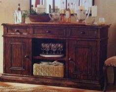 A serving bar for the dining room