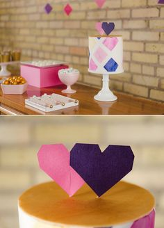 Geometric pink, purple and gold cake and heart cake toppers