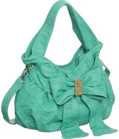OOO handbag, mint green, purs, style, color, summer bags, closet, aqua, big bows