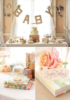 Gorgeous Vintage Inspired Baby Shower. Love the use of books to elevate props!