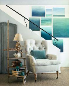 wall art, chair, color, the ocean, reading nooks, ocean pictures, ocean photos, ocean art, beach