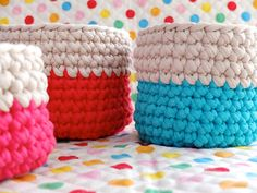 Crochet Nesting Baskets- How cute would this be for a craft room organizing system? Plus I have a suspicion they would be pretty easy to hang.