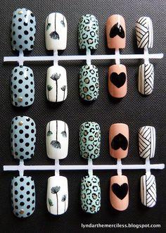 Mixed Retro / Vintage Prints Nail Art   {Lyndar the Merciless, false nails, fake nails, artificial nails, press on nails, blue, turquoise, white, peach, Sanderson, polka dots, floral, hearts, studs, graphic, basket, '50s}
