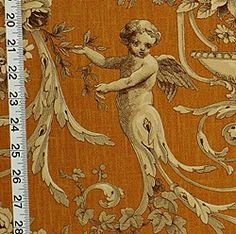 Clarence House Fabric angel orange toile