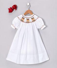 White Reindeer Bishop Dress & Bow