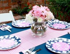 Preppy Plates tablescape