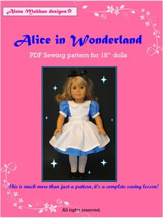 PDF Sewing Pattern - Alice in Wonderland Costume - Fits American Girl Doll or other 18 inch doll. $6.00, via Etsy. (notes to self-red shoes)