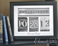 Custom Holiday and Christmas Gift Idea, Wedding Date Frame with Personalized Number Photo Art - 11x14 Frame, Great Homewarming Present. $64.99, via Etsy.