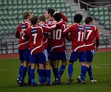 Skeid players celebrate a goal against Steinkjer FK on Bislett stadion in 2008.