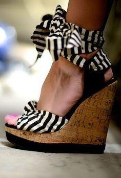 Stunning Womens Shoes summer dresses, fashion, heel, wedges, closet, stripes, tie wedg, shoe, stripe wedg