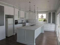 Floor, cabinets, counter tops