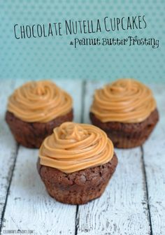 Chocolate Nutella Cupcakes & Peanut Butter Frosting - Try these Chocolate Nutella Cupcakes With Peanut Frosting to satisfy your sweet tooth. The muffin batter is made of brown sugar, cocoa and of course mouthwatering nutella. For a perfect pairing with nutella, the frosting on top is peanut flavoured.  #Nutella #Cupcakes #Chocolate #PeanutButter