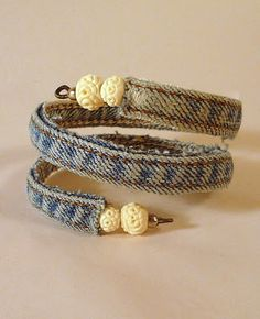 Make this cool denim bracelet out of the seam of your old jeans.