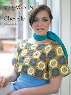 Chevelle -  Ladies' square-neck, cropped sweater; an ideal layering piece. Originally featured in Rowan Knitting & Crochet Magazine 43, this is now offered as a free pattern.