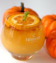Jack O'Lantern Cocktail - Southern Hospitality NYC, Hennessey VSOP Cognac ~ 1 oz Hennessy VSOP Cognac  1 1/2 oz orange juice  1/2 oz Ginger ale  1/2 oz Grand Marnier  orange wheel and lime twist for garnish
