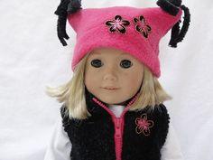 American Girl Dolls Vest & Hat  Black and by DollClothesByJane