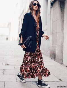dress/blazer/converse - GOODBYE CROP TOP