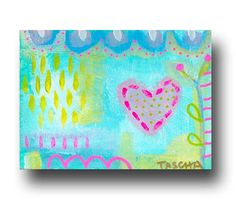 ORIGINAL tiny ABSTRACT love painting MINI sized acrylic by tascha, $19.00