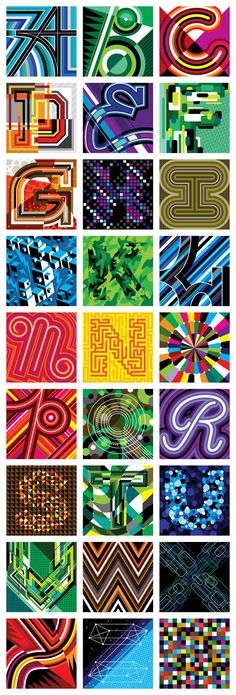 ALPHAFONT # 3 : Series of Vectorfunk Posters celebrating each letter of the alphabet (2009)... by Matt W. Moore  (www.mwmgraphics.com)