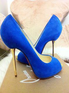 Velvet blue Louboutins @}-,-;—