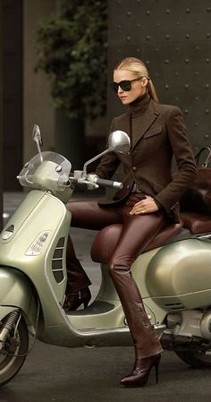 jacket, fashion work, ralph lauren, vespa, chocolate brown, outfit, brown boots, leather pants, scooter