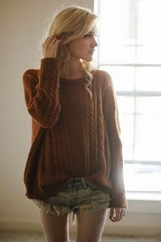 pull over rust cable knit sweater