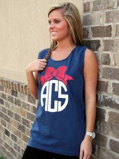 heat press monogram | Every Southern Belle loves monograms and bows! Wear this heat press ...