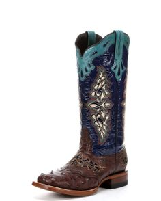 Lucchese Women's Sienna Spyker Calf Cowgirl Boots  http://www.countryoutfitter.com/products/39976-womens-sienna-full-quill-ostrich-navy-spyker-calf-boot