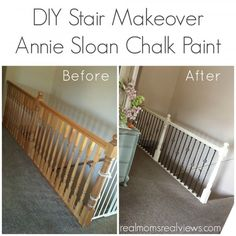 DIY Stair Makeover with Annie Sloan Chalk Paint Hollie did an awesome job on her railing!  Check out how easy it could be to do this at your house.
