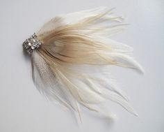 feather hairpiec, ivory, feathers